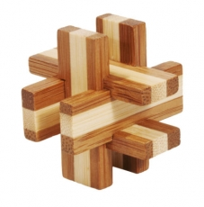 Bambus-Puzzle Geduldsbrettchen ***  in Metalldose