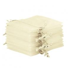 10x Organza-Säckchen  9x12 cm - elfenbein