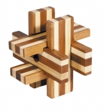 IQ-Test-Puzzle aus Bambus  Bretterkreuz ***