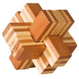 IQ-Test-Puzzle aus Bambus  Block-Kreuz ****