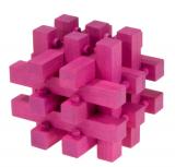 IQ-Test-Puzzle aus Bambus  Verschlossen magenta **