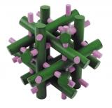 IQ-Test-Puzzle aus Bambus  Magische Stäbe grün/pink ****