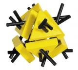 IQ-Test-Puzzle aus Bambus  Dreiecke mit Stäben gelb/schwarz ***