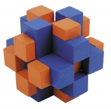 IQ-Test-Puzzle aus Bambus  Würfelkreuz blau/orange ****