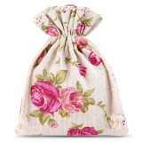 3x Leinen-Säckchen  9x12 cm - natur / Blume