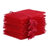 10x Organza-Säckchen  9x12 cm - bordeaux