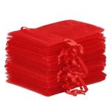10x Organza-Säckchen  9x12 cm - rot
