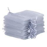 10x Organza-Säckchen  9x12 cm - silber